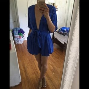 Nasty Gal Blue Summer Date Party Romper